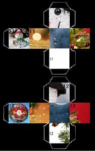 クリスマスパズルサイコロ型紙見本
