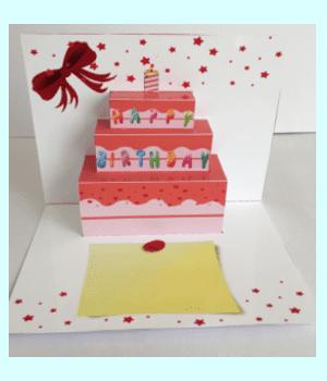 飛び出すカード 可愛い誕生日ケーキ1