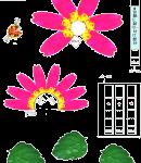 ピンクのお花(ダリア)型紙みほん