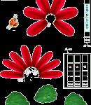赤いのお花(ダリア)型紙みほん